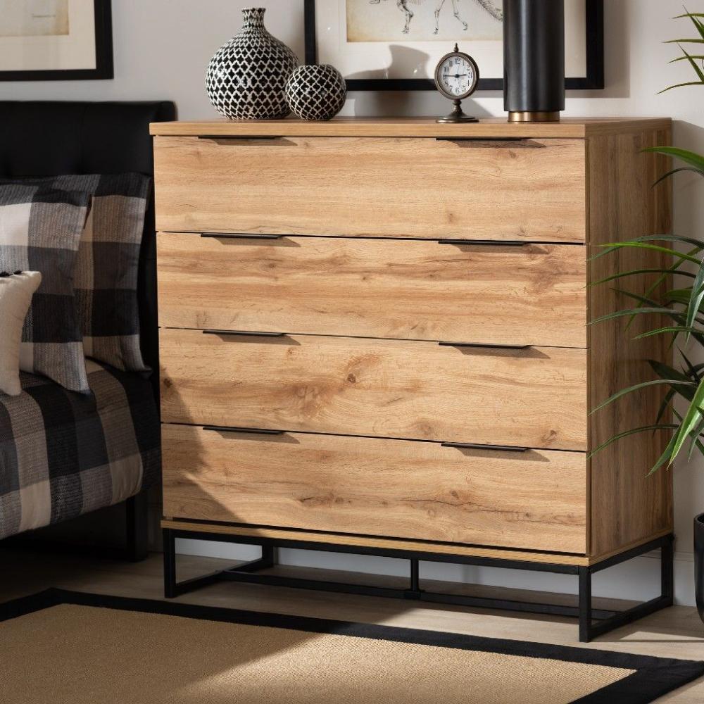 Baxton Studio Reid Modern Contemporary Industrial Oak Finished Wood Black Metal 4 Drawer Dresser Wholesa Wood Dresser Diy Wood Dresser Light Wood Dresser [ 1000 x 1000 Pixel ]