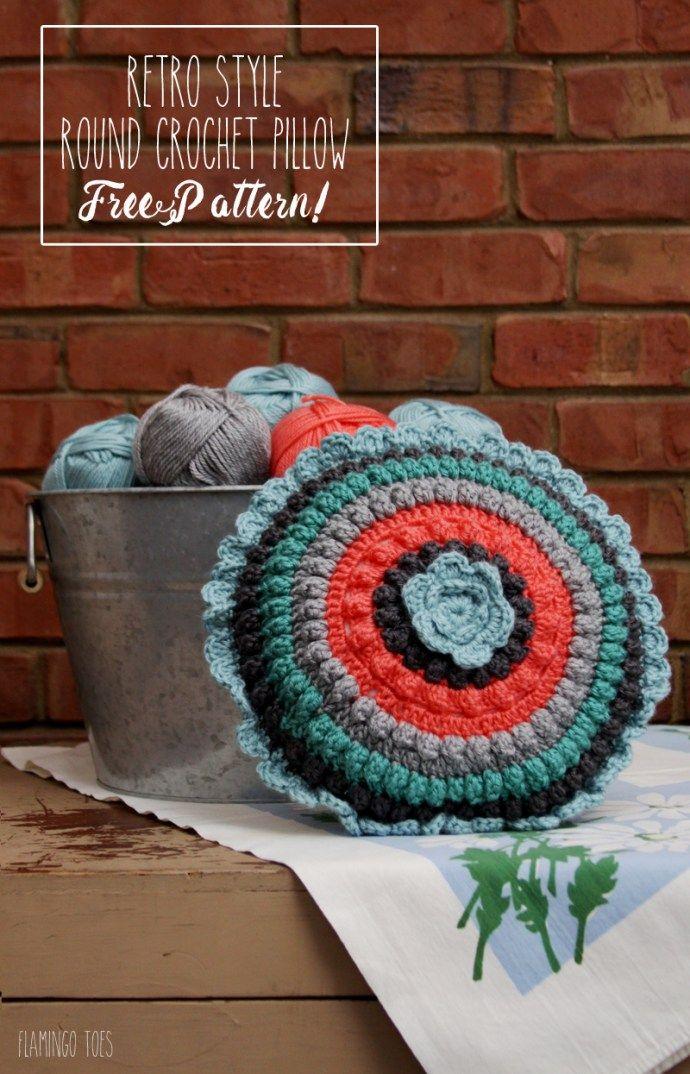 Retro Style Crochet Pillow - Free Pattern - | Kissen, Häkeln und Deko