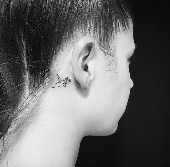 Behind The Ear Origami Crane Tattoo Artist Carin Silver Tiny Tattoos Broken Tattoo Tattoos