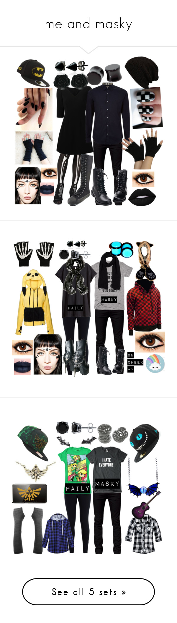"""me and masky"" by newmotionlessjinxxgamer ❤ liked on Polyvore featuring Disguise, Dolce&Gabbana, Demonia, Tiger of Sweden, Burberry, Wicked Hippie, Jeffree Star, Lime Crime, New Era and Dollydagger"