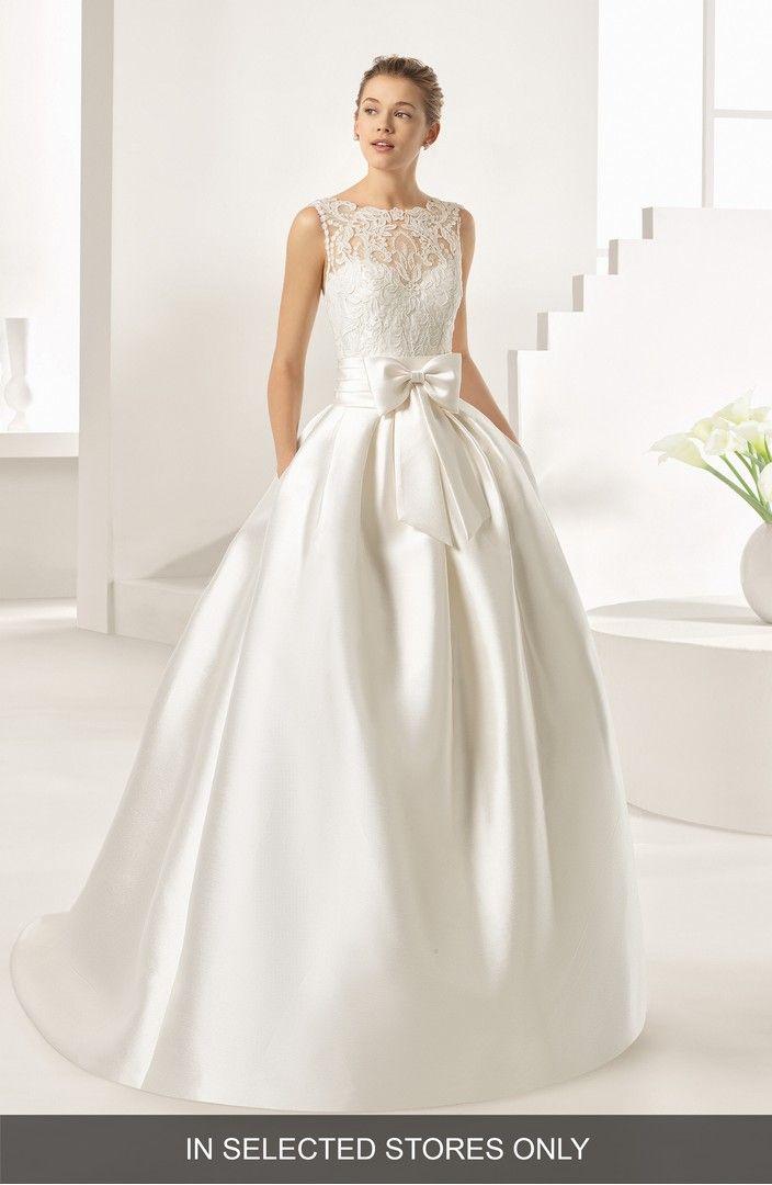 Winter Wedding Rosa Clara Bow Ordesa Lace & Mikado A-Line Gown ...