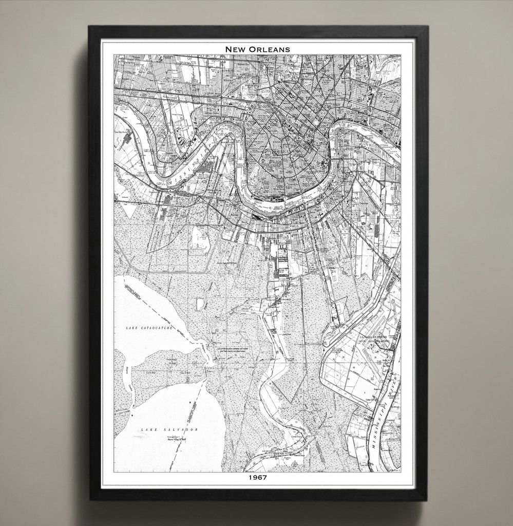 Map print new orleans print poster printing and apartments
