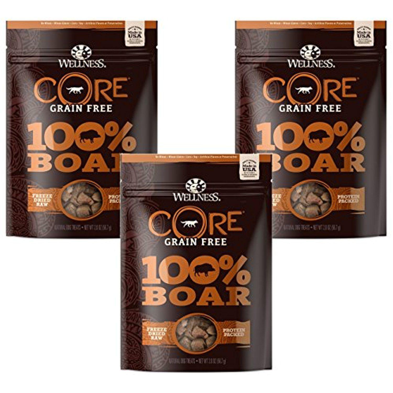 (3 Pack) Wellness 2 oz Dog Core 100 Boar Snack Freeze