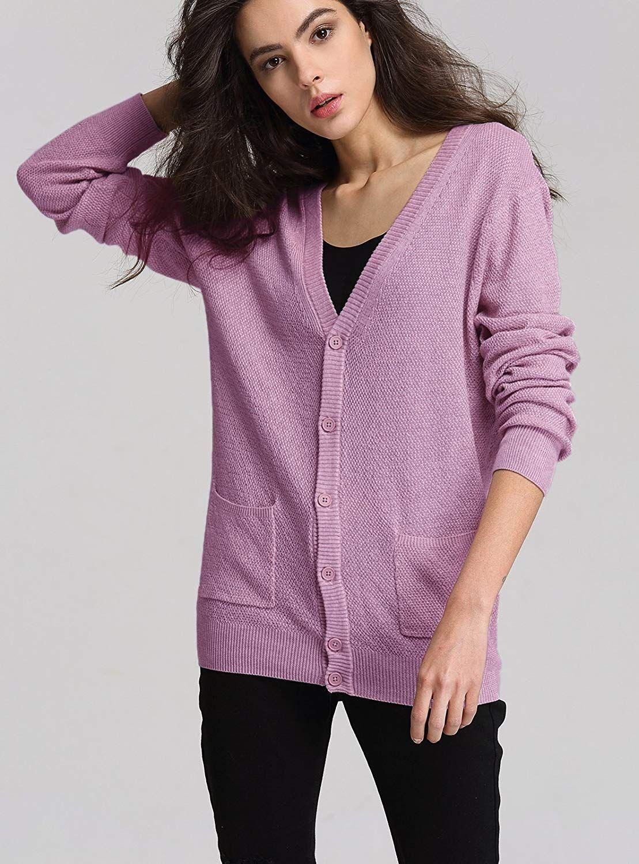 a89199a55 Escalier Womens V-Neck Thin Button Down Long Sleeve Basic Soft Knit ...