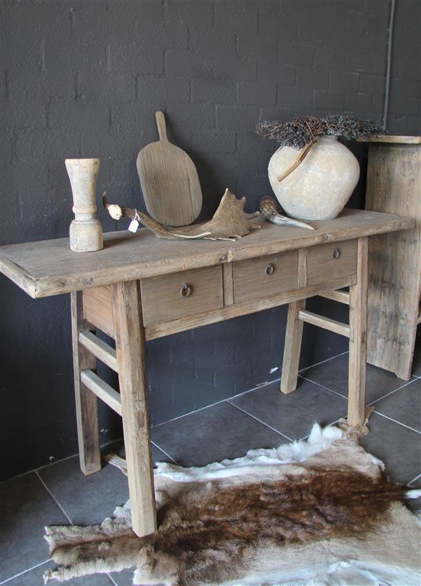 Meubelen wandtafel side table oud hout nieuw binnen 39 t veurhuus nostalgisch wonen product - Oude huisdecoratie ...
