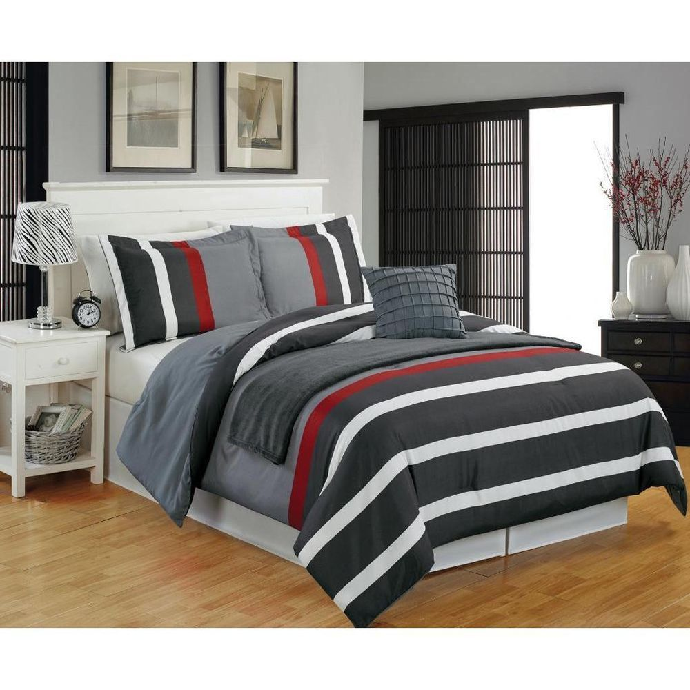 Modern Teen Boys Microfiber Striped Grey Red 5PC