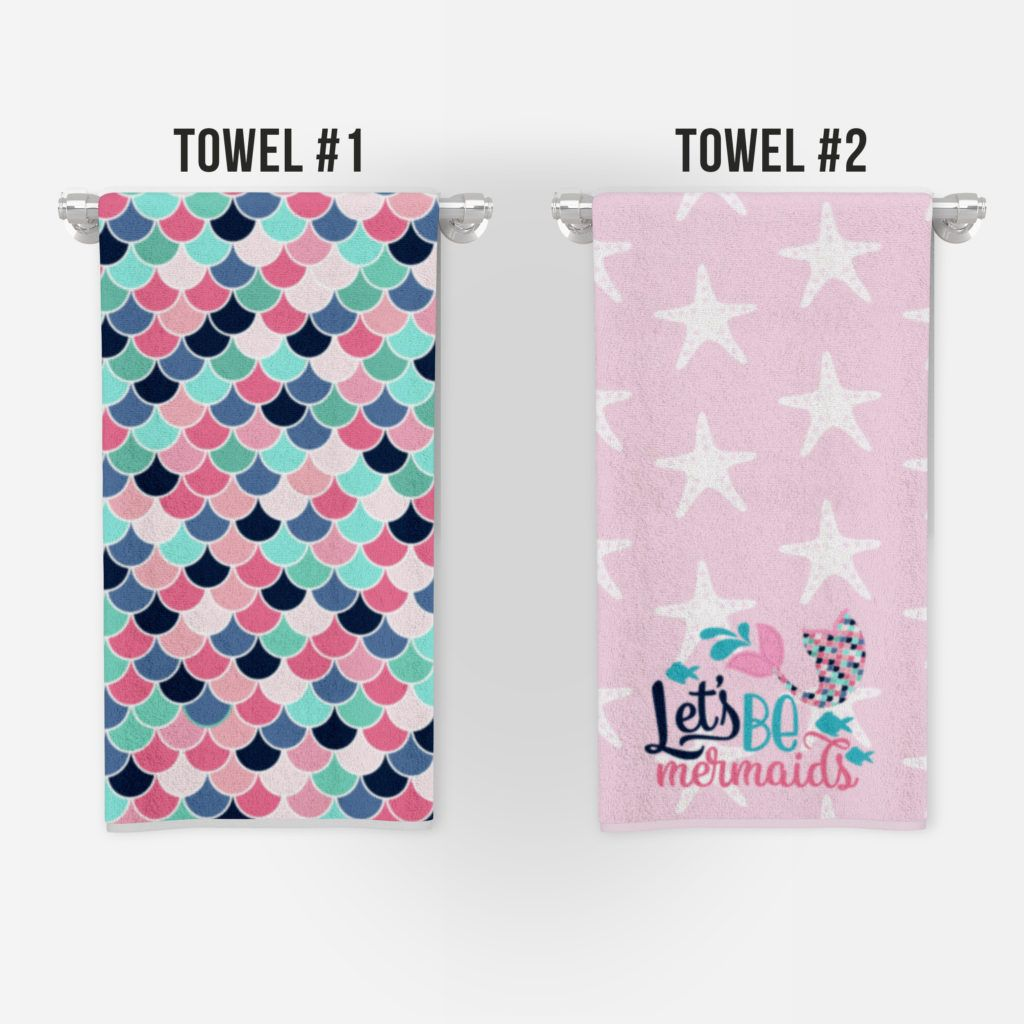 Cute mermaid towels and free wall art bathroom prints – Colorful Is Happy #mermaidbathroomdecor