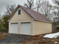 This 24x32x10 Residential Post Frame Garage Was Built In Front Royal Va By Superior Buildings Location Front Royal Metal Buildings Modern Roofing House Roof
