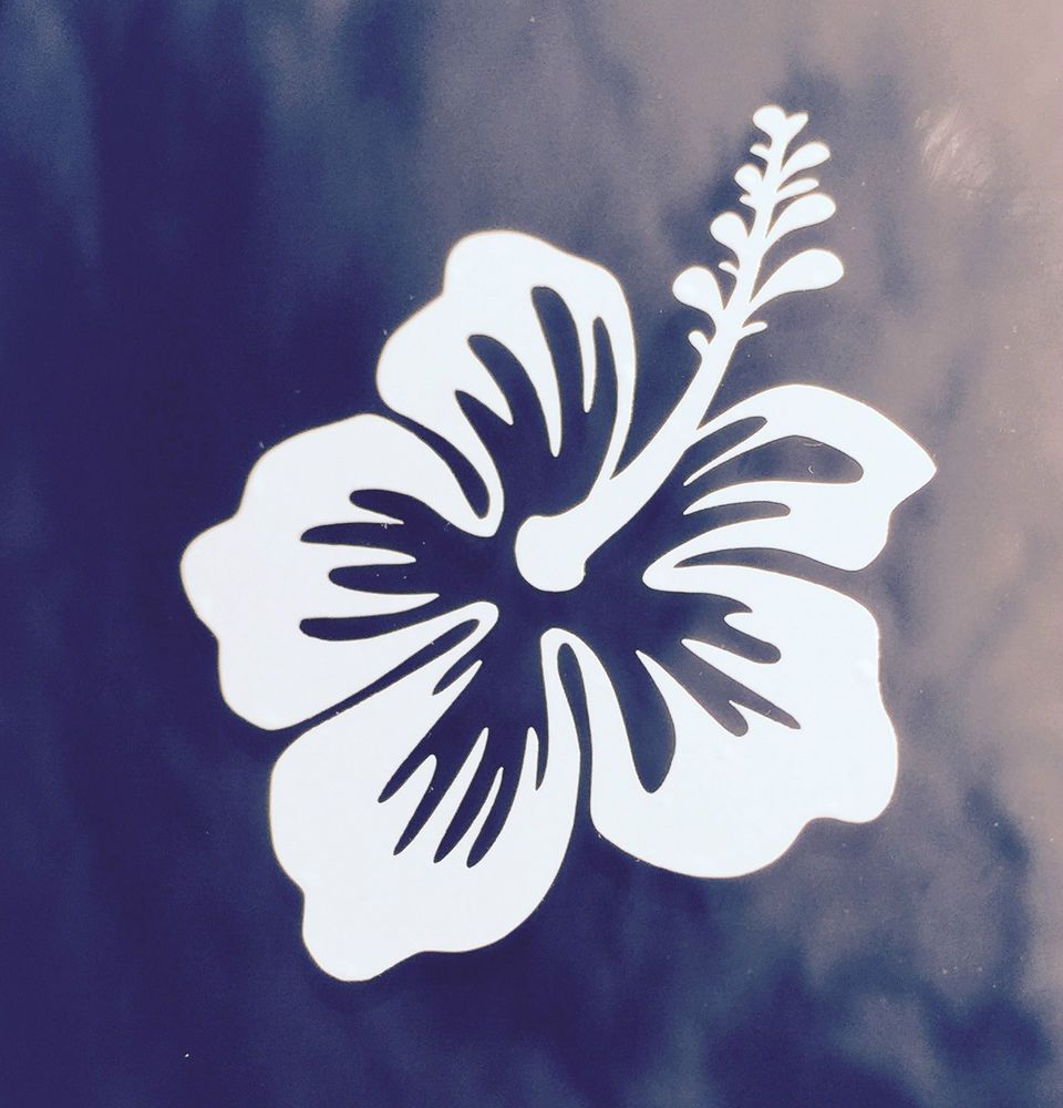 Hawaii hawaiian islands hibiscus flower 2 vinyl decal car bumper hawaii hawaiian islands hibiscus flower 2 vinyl decal car bumper sticker white pipelinesunsetwaimeabayalamoanacellphone izmirmasajfo
