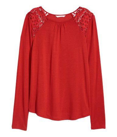 cheap for discount 7f59f 47fc6 Langarmshirt mit Spitze | Knallrot | DAMEN | H&M DE | FS ...