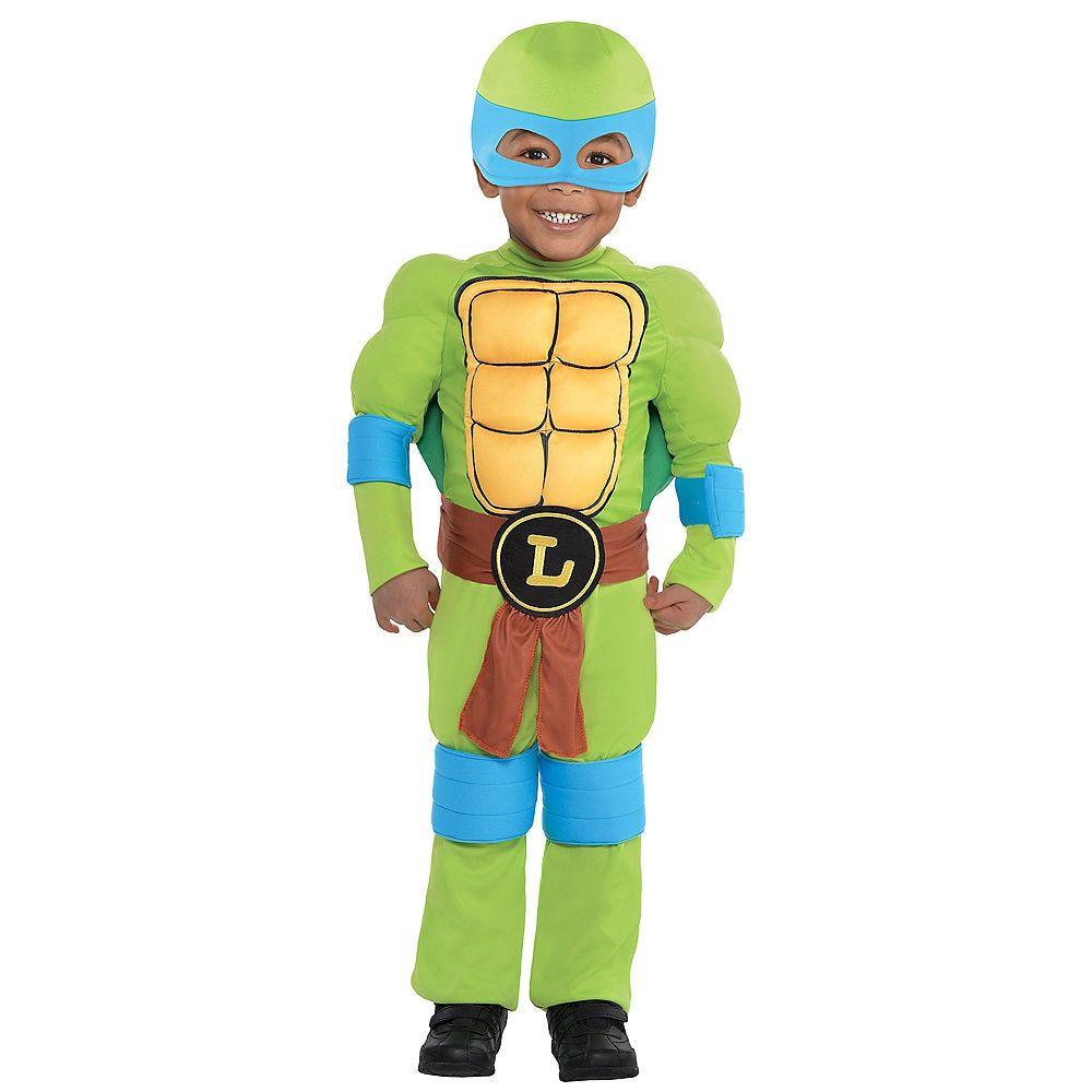 2020 Party City Teenage Mutant Ninja Turtles Half Shell Heroes Halloween Toddler Boys Leonardo Muscle Costume   Teenage Mutant Ninja