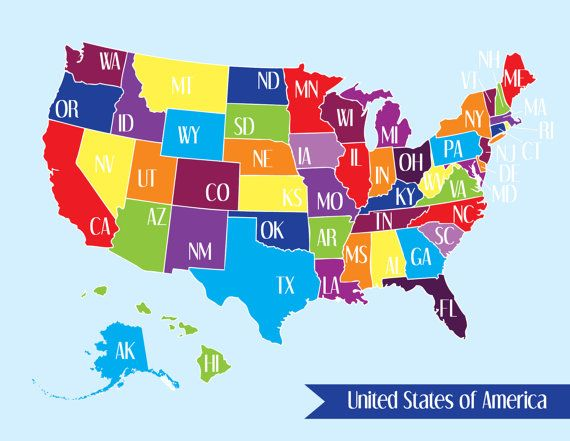 United States Map Colorful Usa Us America Art By Designsbytenisha: Colorful Usa Map At Infoasik.co