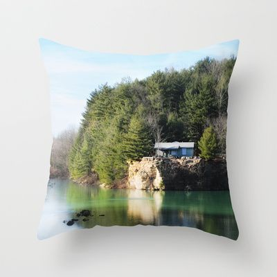 Cabin on the Lake Throw Pillow by Captive Images Photography - $20.00