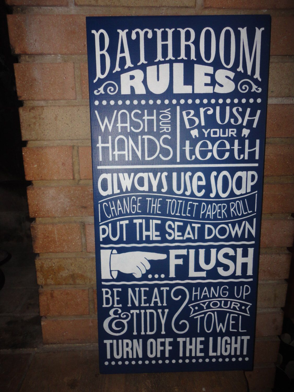 Bathroom sign for home - Navy Bathroom Sign Home Decor Sign Bathroom Rules Hand Painted Sign Bathroom Decor Large Sign 11 5 X 24