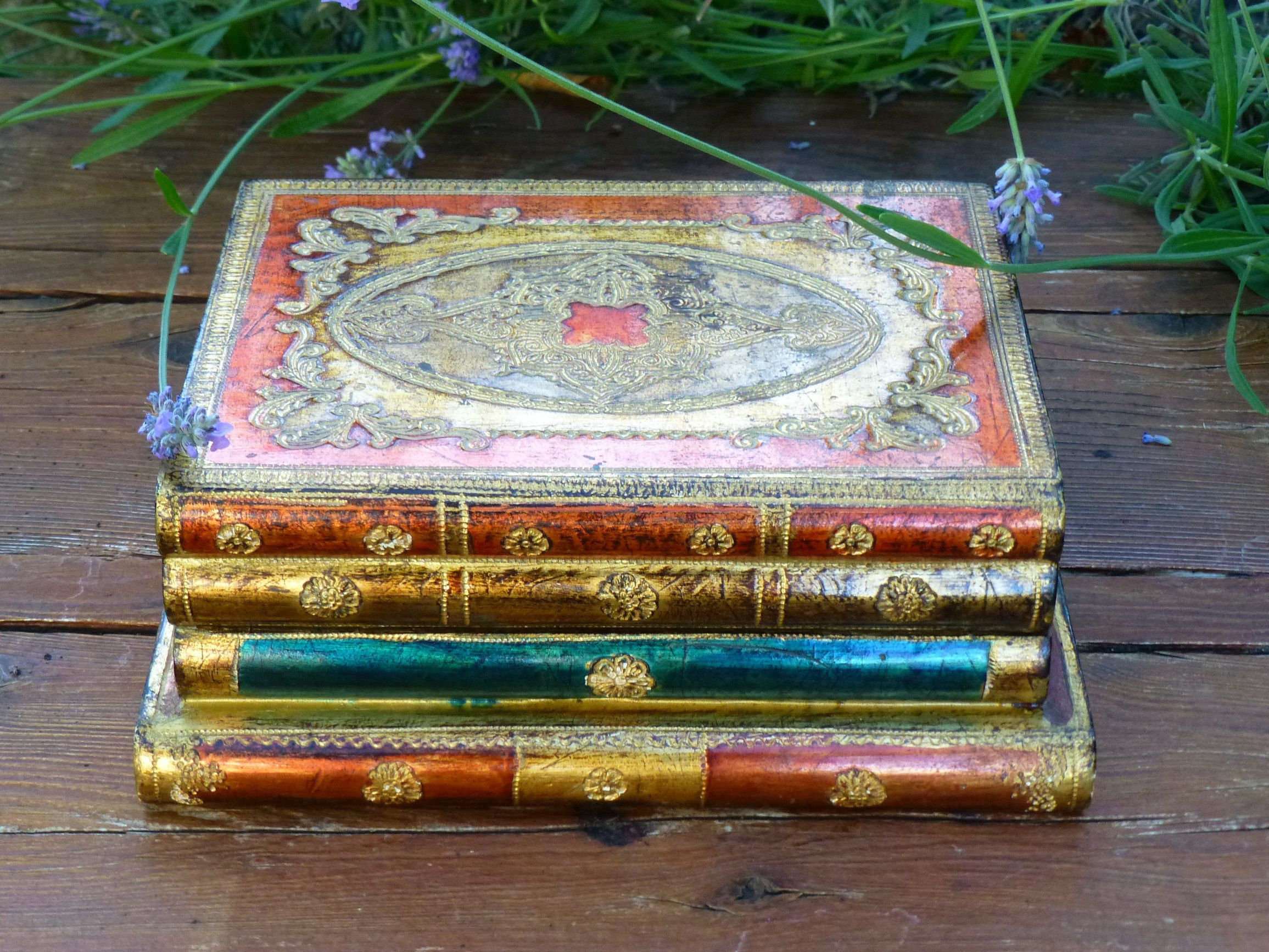 Vintage Florentine Faux Book Box Wood Book Stack Hidden Etsy Wood Book Painted Jewelry Boxes Book Box
