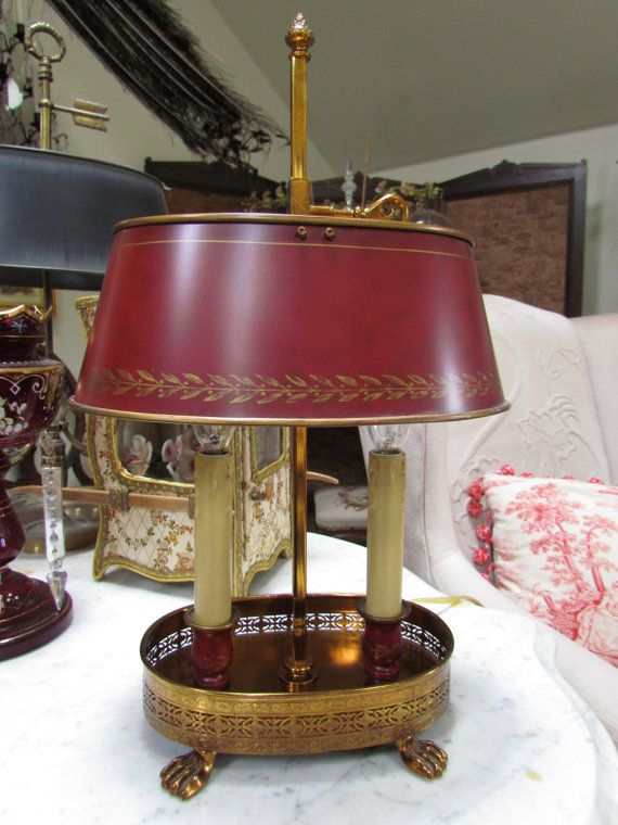 French Red Bouillotte Tole Lamp