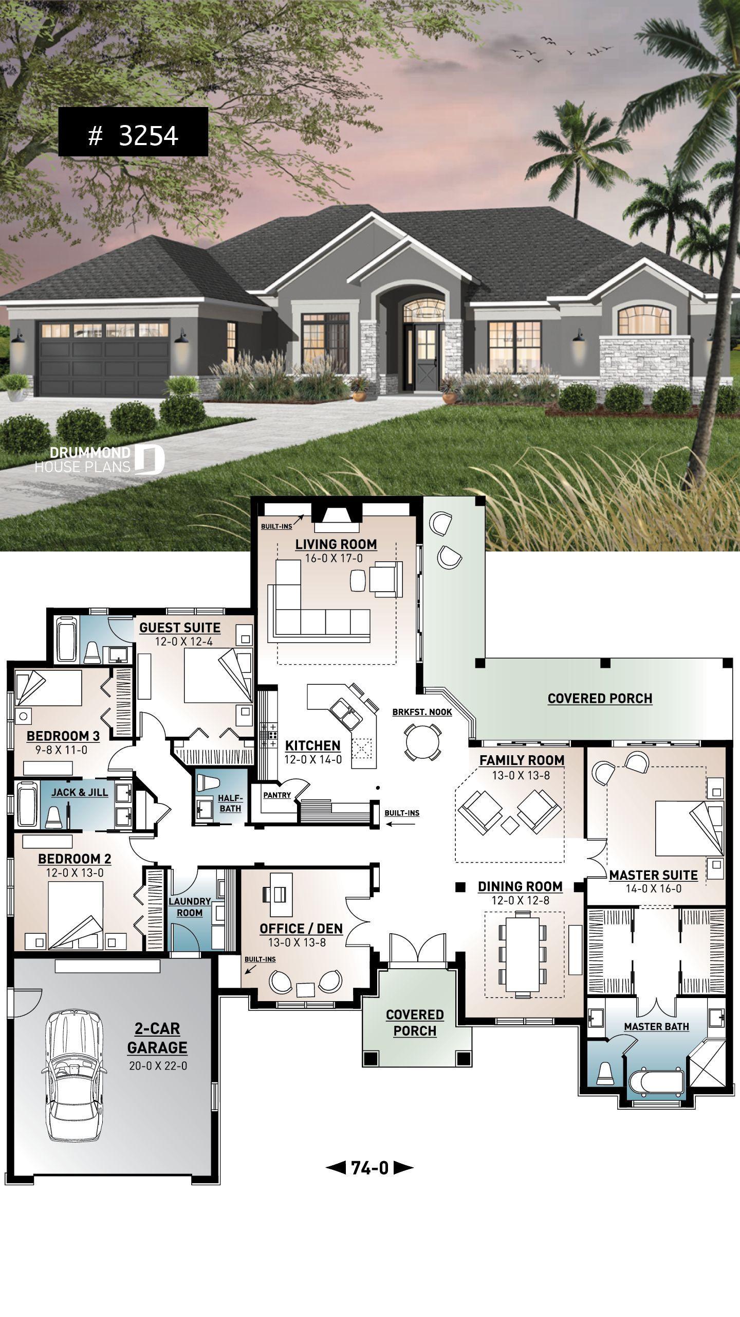 4 Zimmer Haus große Master Suite Home fice offener Grundriss überdachte
