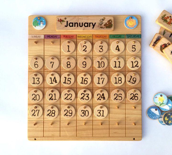 Etsy Wooden Perpetual Calendar Weather Chart Waldorf Calendar