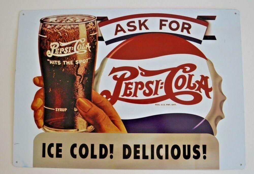 Pepsi Nickel Drink Tin Metal Sign Decor Pop Soda Cola