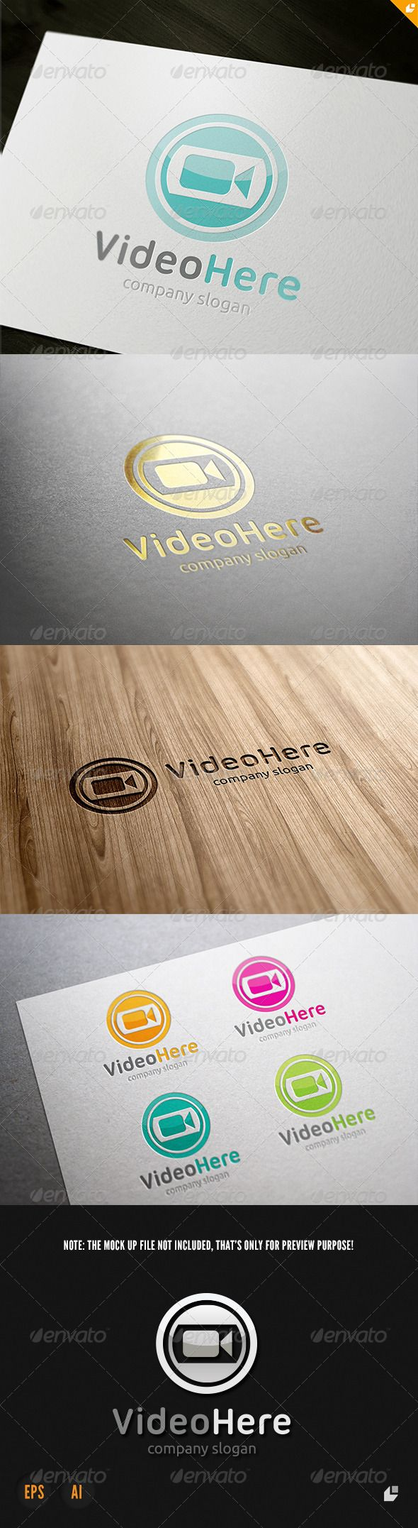 Video Here Logo — Vector EPS media audio • Available