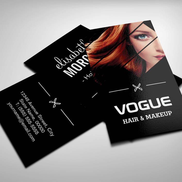 Vogue Girl Stylish Black White Fashion Hairstylist Business Card - Hair salon business card template