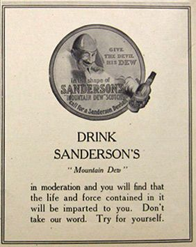"1907 Sanderson's ""Mountain Dew"" Scotch Ad"