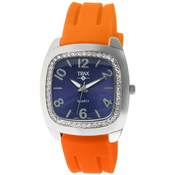 Trax Malibu Fun Orange Rubber Blue Dial Crystal Watch (£42) ❤ liked on Polyvore featuring jewelry, watches, rubber jewelry, sparkle jewelry, crystal stone jewelry, orange crystal jewelry and colorful watches
