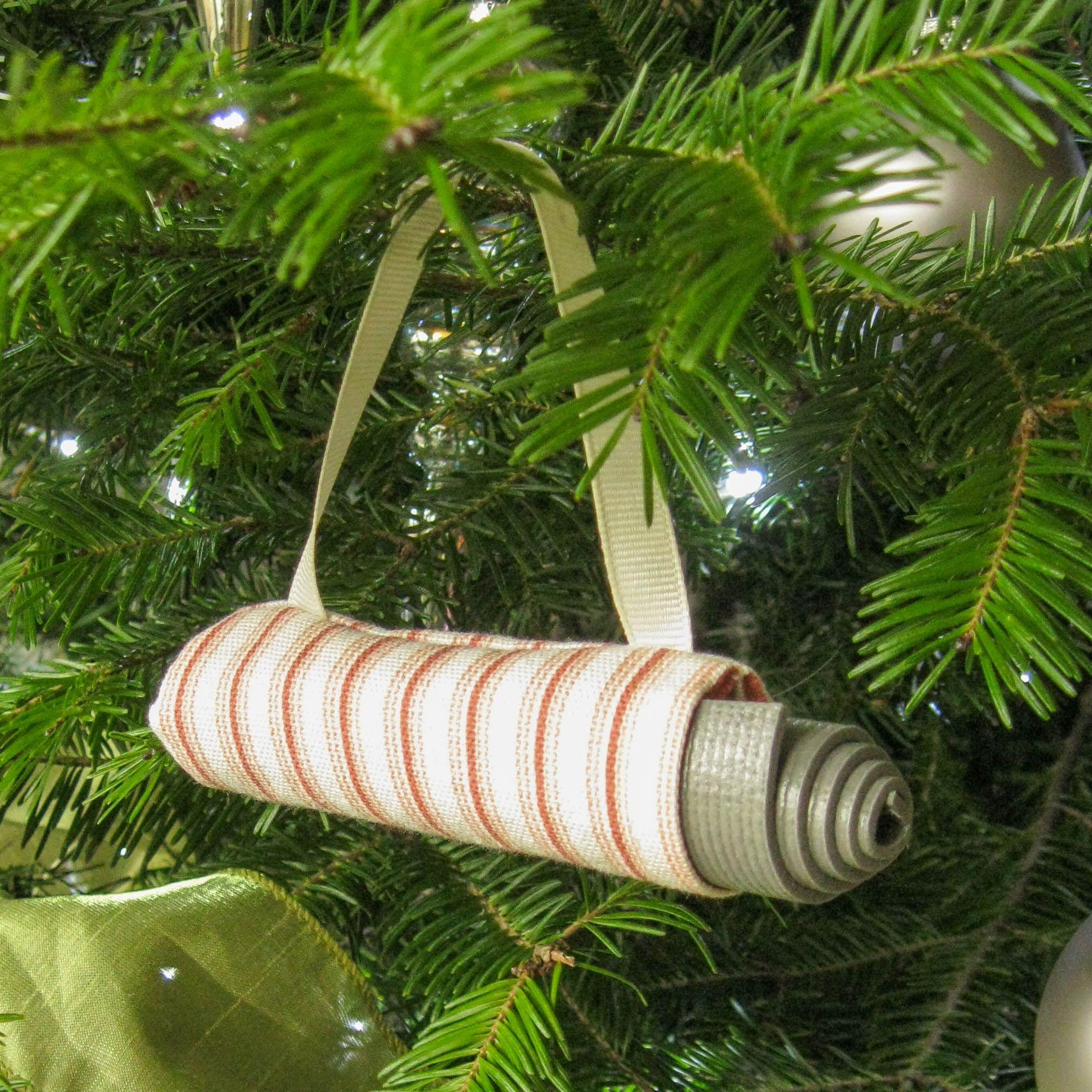 Yoga Stocking Stuffer Yoga Christmas Decoration Coral Stripe Yoga Bag Christmas Ornament Yoga Instructor Gift Secret S Handmade Ticking Stripe Artisan Gift