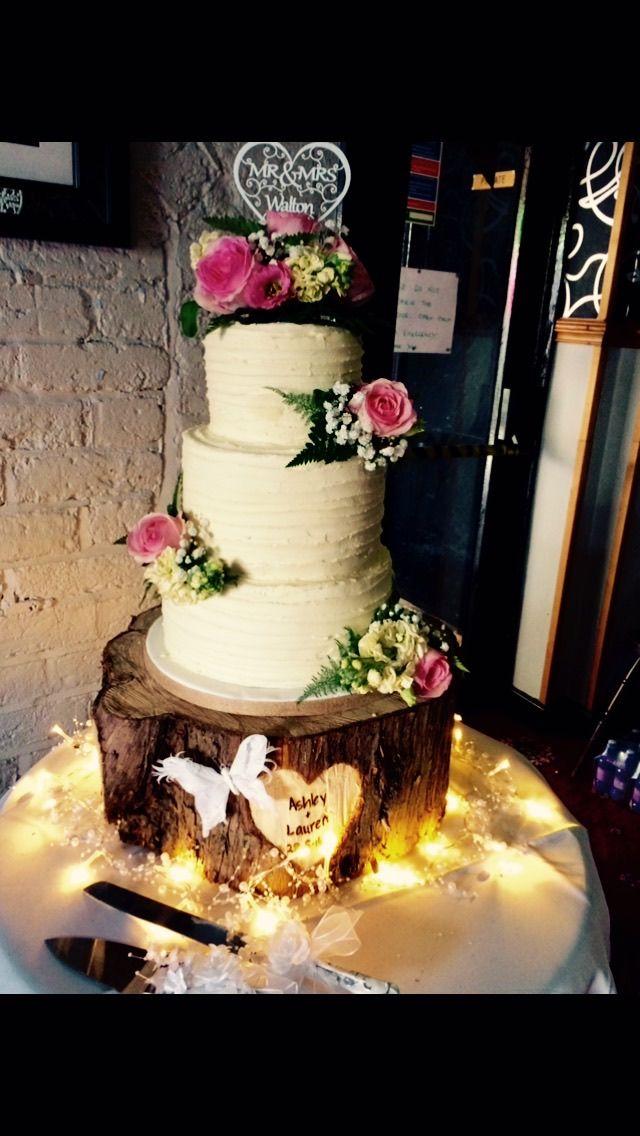 3 Tier Vintage Buttercream Wedding Cake With Real Flower - Fudge Wedding Cake