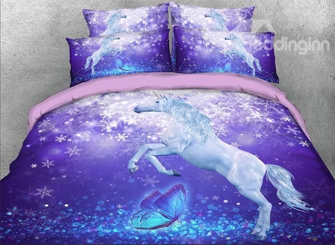 3d Unicorn And Butterfly Printed Cotton 4 Piece Purple Bedding Sets Duvet Covers Purple Bedding Bedding Sets Purple Bedding Sets
