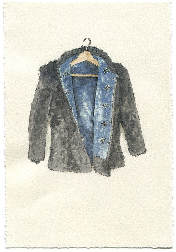 Original Watercolor Illustration Worn In Blue Grunge Denim Jean