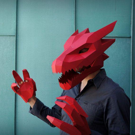 Dragon Mask V2 Make Your Own Card Mask With This Simple Pdf Etsy In 2021 Dragon Mask Make Your Own Card Animal Masks