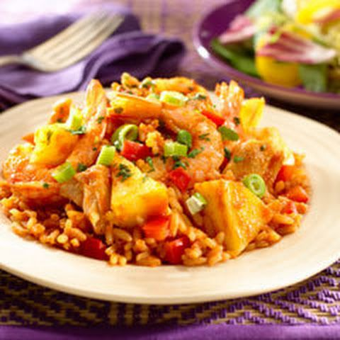 Chicken & Shrimp With Pineapple Rice