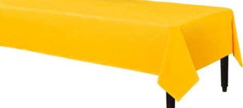 plastic chair covers party city french dining chairs johannesburg sunshine yellow table cover rubbles
