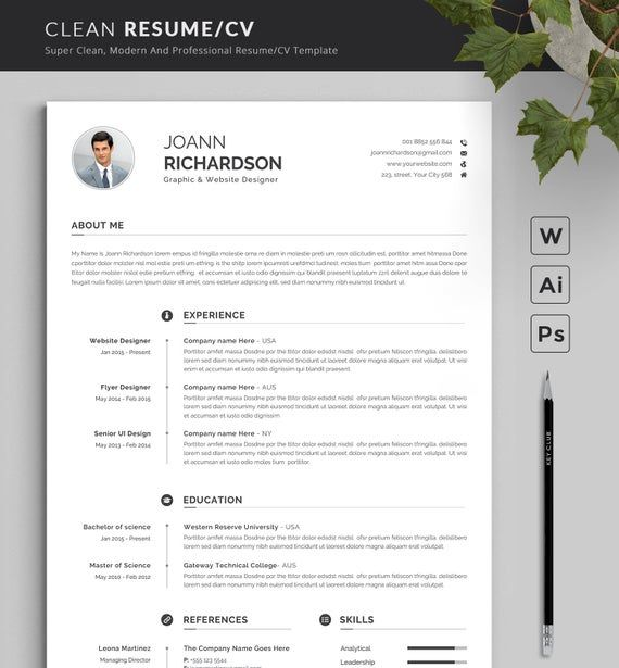 Moderne Und Kreative Lebenslauf Vorlage Moderne Etsy Resume Template Word Creative Resume Templates Resume Template Professional