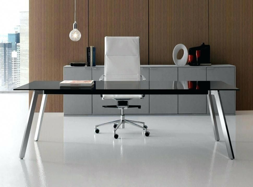 Compact Office Furniture Simple Luxury Wood Desk With Glass Top
