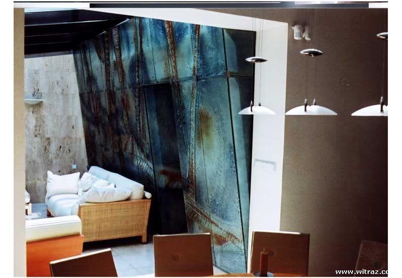 Podświetlana ściana Ze Szkła Artystycznego I Drzwi Szklane