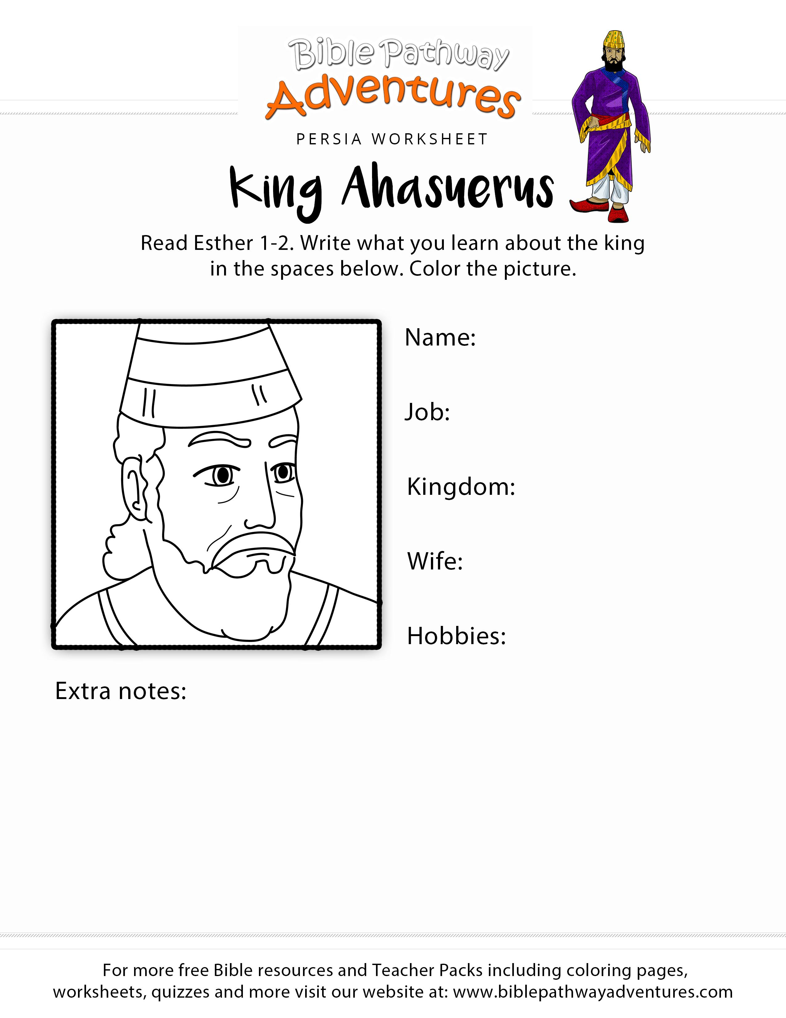 King Ahasuerus Worksheet For Kids