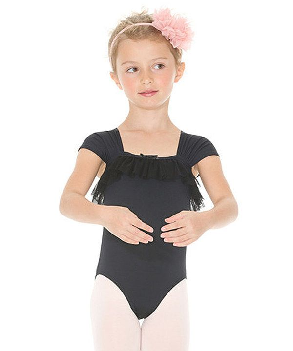 Look at this Black Ruffle Cap-Sleeve Leotard - Toddler | Gifts for ...