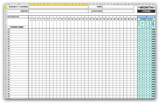 Click Here To Download The Excel Monthly Attendance Sheet