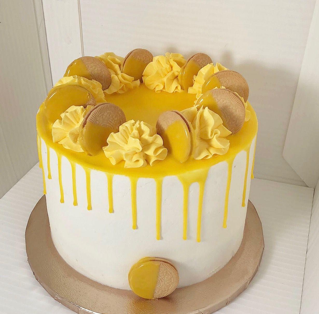 Lemon Buttercream Drip Cake Birthday Cake Lemon Birthday Cakes Birthday Cake Decorating Drip Cakes