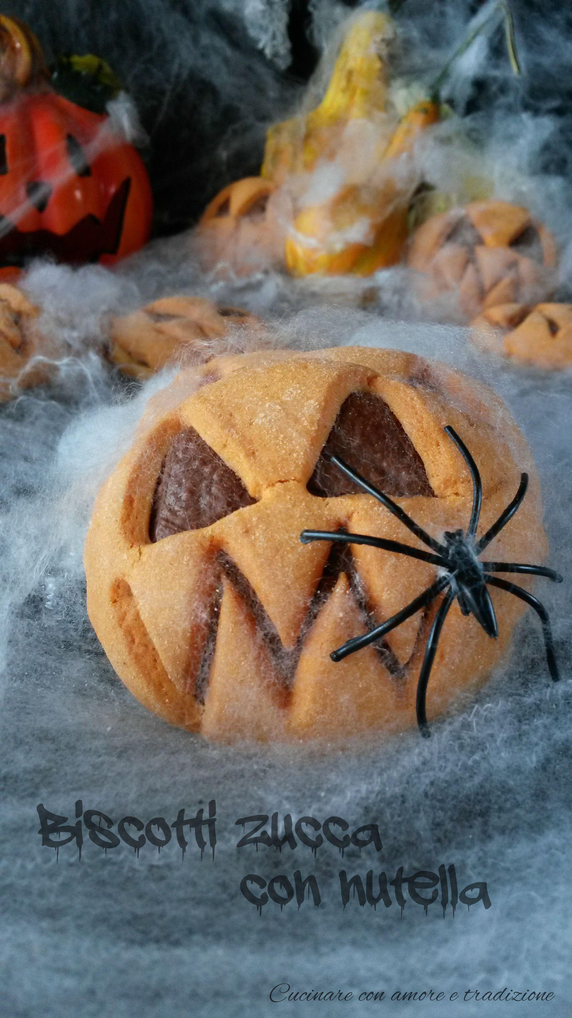 Biscotti zucca con nutella Ricette, Cibi per halloween e