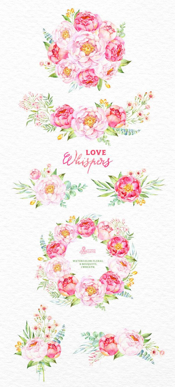 Love Whispers: 6 Watercolor Bouquets and 1 Wreath от OctopusArtis