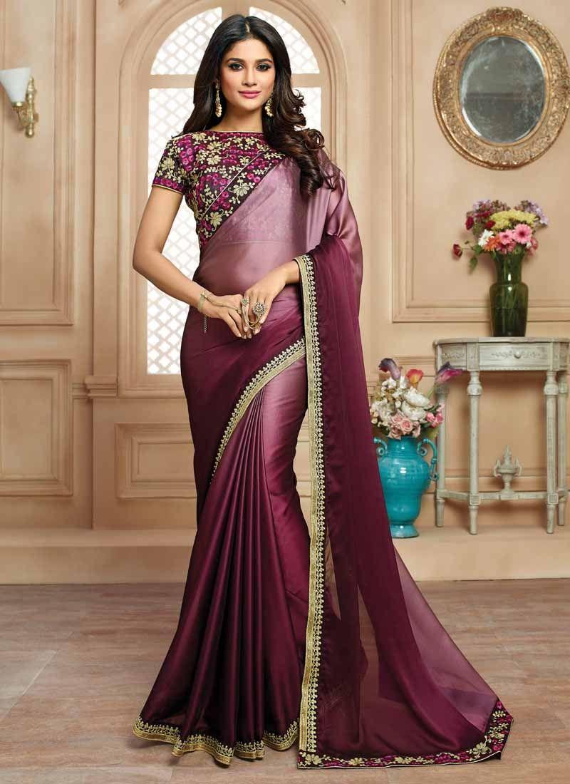 32b0003a17 Wine Double Shaded Satin Saree | Sarees | Satin saree, Saree ...