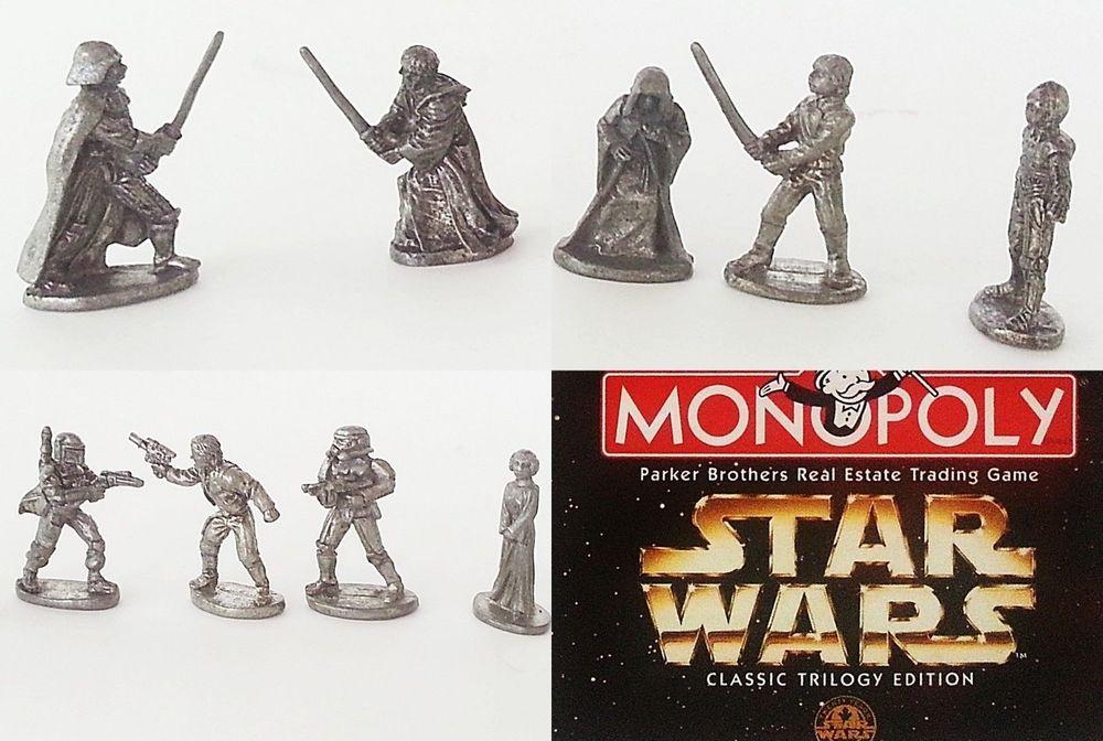 Star Wars Monopoly Figures Pewter 1997 Trilogy Darth Vader ...