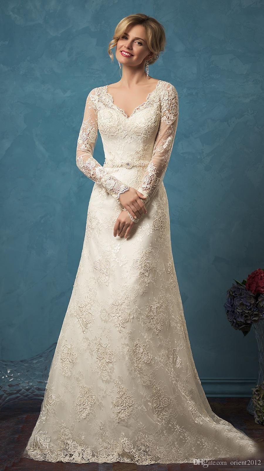 Amelia Sposa Wedding Dresses Vestidos De Noiva Full Long Sleeves ...