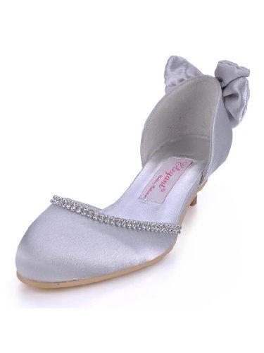 ef5594c17624 Elegantpark EP41013 Silver Round Toe Rhinestone Back Bow Satin Low Heel  Wedding Party Shoes US 8