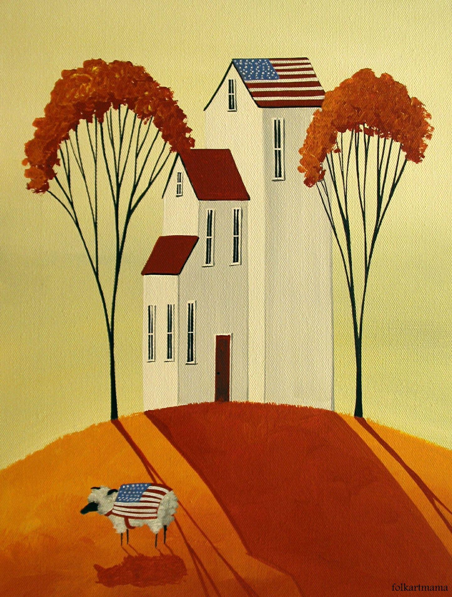 """All American Sheep"" original art by folkartmama My Art"