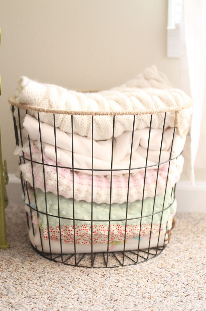 Photo of Project Nursery – WIRE BASKET FULL OF BABY BLANKETS, SITTING NEXT TO