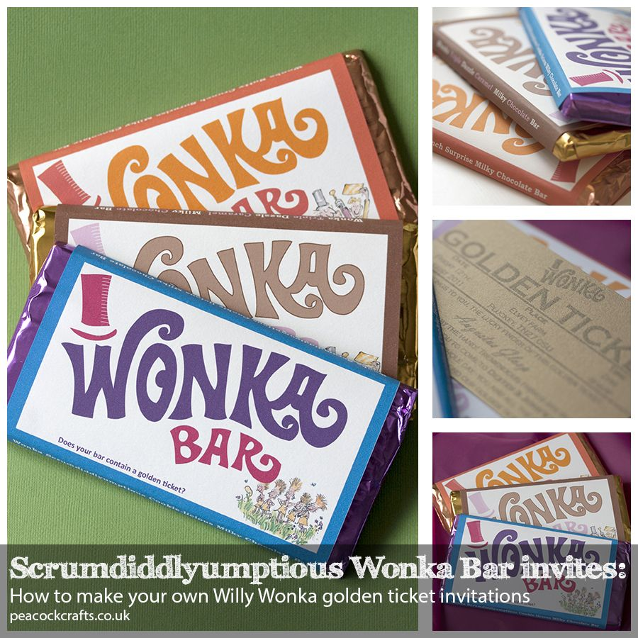 Scrumdiddlyumptious Wonka Bar Invites How to make your own Willy – Golden Ticket Party Invitations